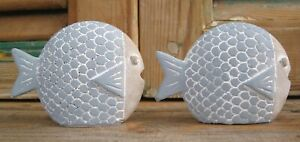 2 kleine, süße Fische im Set mariitime Deko Meer Strand Urlaub Shabby blau grau