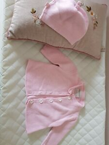 Marquise Baby Pink Cardigan and Beanie 000