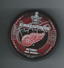 Johan Franzen Signed 2008 Stanley Cup Champions Puck RED WINGS
