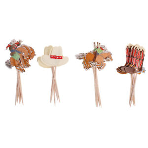 3 x 24pcs Cowboy Hat Boot Horse Cupcake Picks Cake Toppers Baby Shower Gifts