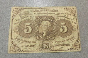 1862 5 Cent Fractional Currency Bill