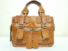 SALE - CHLOE BAY SMALL PATENT COGNAC LEATHER TOTE / HANDBAG - AUTHENTIC