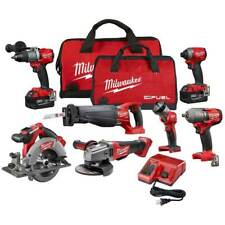 Milwaukee FUEL M18 2997-27 18-Volt 7-Tool Drill/Driver/Grinder/Saws/Wrench Combo