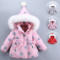 Fashion Baby Toddler Girl Hooded Cotton Padded Coat Jacket Winter Outerwear Gift