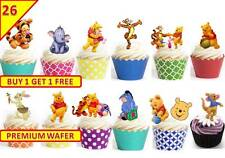 50 Winnie The Pooh Birthday Party Cup Cake Edible Wafer Rice Toppers Stand up