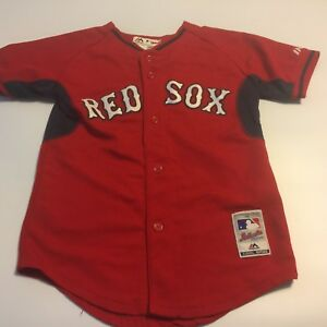 Majestic Boston Red Sox Red Youth Sz Medium 10/12 Button SS Jersey