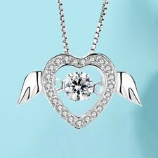 Fashion 925 Sterling Silver White Crystal Heart Pendant Dancing Chain Necklace