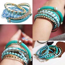 Bohemian Sea Style Women Multilayer Acrylic Beads Elastic Bangle Bracelet Blue