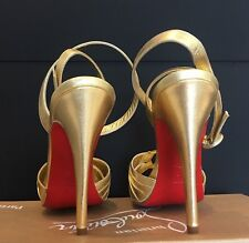 AUTHENTIC NIB Christian Louboutin Gold Leather Ankle Strap Platform Heels Sz 38