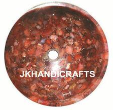 "15"" Marble Red Agate Stone Sink / Wash Basin Gemstone Random Inlay Kitchen Gift"