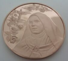 Vintage Bronze St Therese of Lisieux Pocket Coin Air Travel Protection 1970s