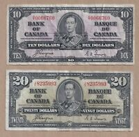 1937 $10 and $20 Bank of Canada Notes Coyne Towers - Circulated
