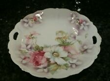 Vintage RS Germany Cake Plate, Pink & White Roses, Transfer w/ hand painting