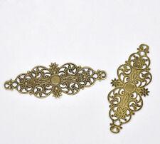 50 Connecteurs Filigrané Fleur Couleur bronze 6.1x2.4cm