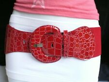 Women Passion Red Stretch Belt Waistband Round Buckle Size XS S M