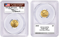 2018 $5 GOLD EAGLE 1/10oz PCGS MS70 FIRST DAY OF ISSUE MERCANTI SIGNED FDOI