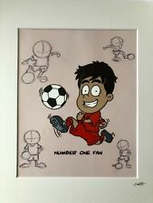 More details for football - red strip - boy - ethnic - hand drawn & hand painted cel