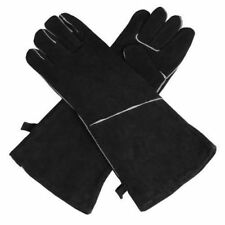 HEAVY DUTY WOOD BURNER STOVE FIREPLACE HEAT RESISTANT FIRE GLOVES - BLACK