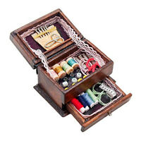 KQ_ FP- 1/12 Doll House Chinese Wooden Sewing Kit Box Miniature Scene Accessory
