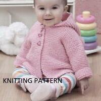 (589) Baby Cardigan Copy Knitting Pattern, Easy Knit Hooded Design in Aran yarn