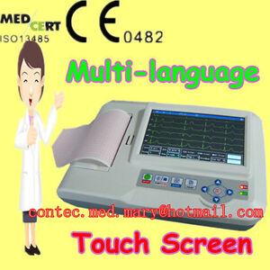 new ECG600G TOUCH SCREEN 3/6 lead ECG EKG Electrocardiograph Printer PC software