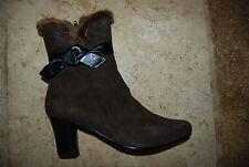 New Dark Brown Suede Side Zip ROS HOMMERSON Low Boots Faux Fur Trim 7.5 N