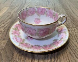 Gorgeous Haviland Limoges China Tea Cup & Saucer Drop Rose Pink Schleiger 55