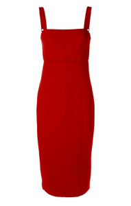 CINQ A SEPT NWT $395 Dakota Back Cutout Body-Con Midi Dress in Scarlet Sz 6