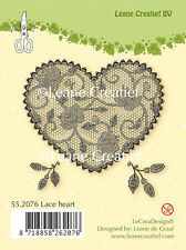 Leane Creatief- Clear Cling Rubber Stamp   LACE HEART - 55.2076