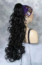 Super Long Curly Black Clip-On Hairpiece Ponytail