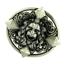 Cool Classic Lion Head Cross Western Cowboy Belt Buckle Metal Rodeo Silver