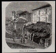 1858  --  ITALIE   ATENA ET SA CATHEDRALE  TREMBLEMENT TERRE   3L864