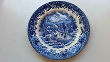 "Churchill Currier & Ives Blue  ""EARLY WINTER HARVEST"" 8"" Salad Plate  - England"