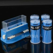 400pcs Dental Disposable Micro Fiber Applicators Brushes Blue +Dispenser Holder