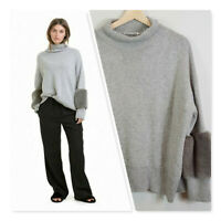 [ COUNTRY ROAD ] Womens Mock Neck Faux Fur Knit Jumper | Size S or AU 10 / US 6