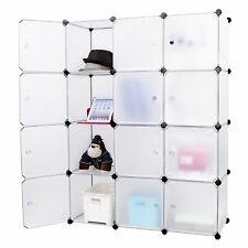 Mobile armadio modulare quadrato impermeabile e resistente 12 scomparti Bianco