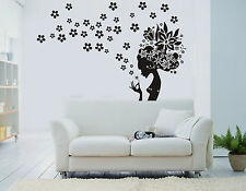 Personalised Color Girl Flowers Wall Art Stickers Vinyl Decal Removable DIY