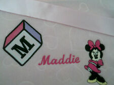 personalized boy / girl  pink or blue bassinet/ cot minnie mouse blankets