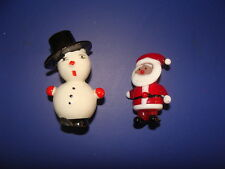 (Lot of 2) Vintage Hand Blown Glass Christmas Figurines