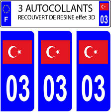 3 sticker plaque immatriculation auto DOMING 3D RESINE DRAPEAU TURQUE TURQUIE 03