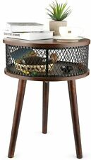 Industrial Round End Table, Side Table with Metal Storage Basket Vintage Wooden