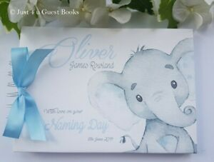 PERSONALISED ELEPHANT  CHRISTENING/ NAMING/ BABY SHOWER GUEST BOOK/ALBUM