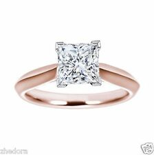 2.25 Ct Engagement Ring Princess Cut 14k Solid Rose Gold Bridal Jewelry