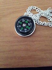 Compass Silver Tone Working Necklace Hiking Climbing Camping Scout