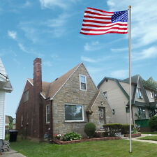 20 Ft Aluminum Outdoor Flag Pole Kit With Tangle Free Spinning Flagpole Bracket
