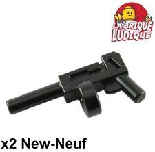 Lego 2x minifig arme weapon gun pistolet mitraillette sulfateuse noir x1608 NEUF
