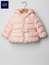 GAP Baby Girl Size 0-6 Months Light Pink Peplum Warmest Puffer Coat Jacket w/Bow