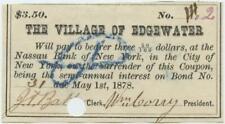 Staten Island New York City 1870s Edgewater Village Bond Coupon Civil War Era 9