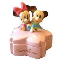 Baby Mickey Minnie Mouse Cherry Blossoms Porcelain Box Tokyo Disney Japan
