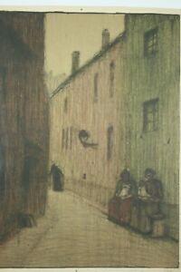 """MAX ZACHMANN Heidelberg 1892-1917 Expressionismus Lithographie """"Gasse"""" handsig."""
